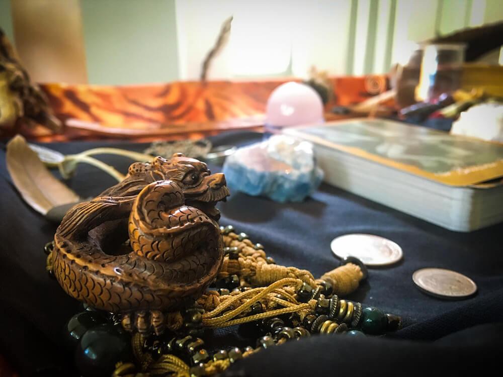 Carved dragon on altar